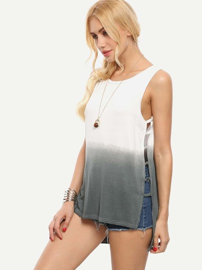 Grey Ombre Ladder-Cutout High-Low Tank Top