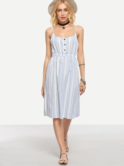 Buttoned Front Vertical Striped Cami Dress - Light Blue