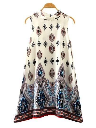 Multicolor Paisley Print Swing Dress