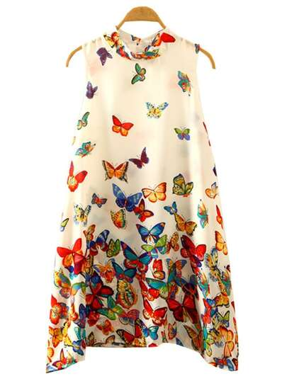 Multicolor Butterfly Print Swing Dress