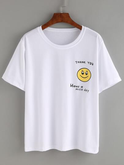 Smiley Face Print T-shirt - White