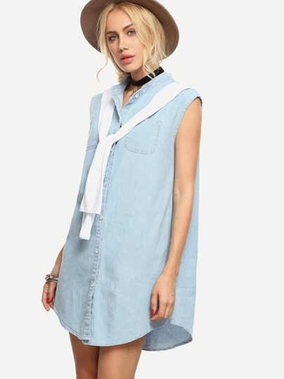 Tie-Neck Light Blue Denim Shirt Dress