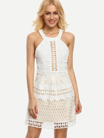 Halter Neck Cutout Lace Dress - White