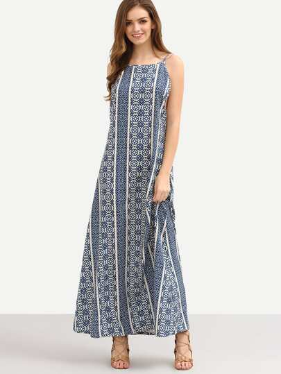 Geometric Print Drop Armhole Cami Dress - Blue