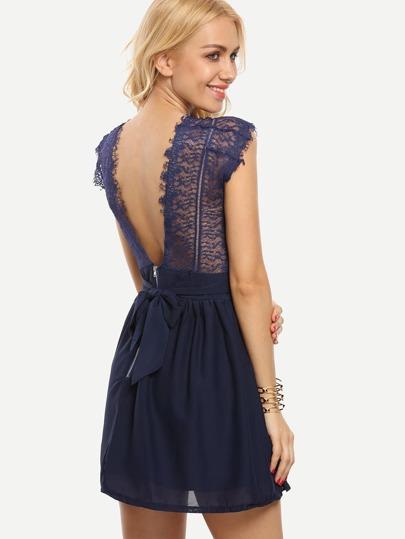 Lace Insert V-Back Skater Dress - Navy