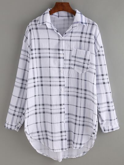 Pocket Front Black White Plaid Blouse