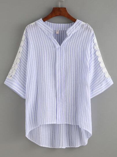 Lace Insert Blue Striped Dip Hem Blouse