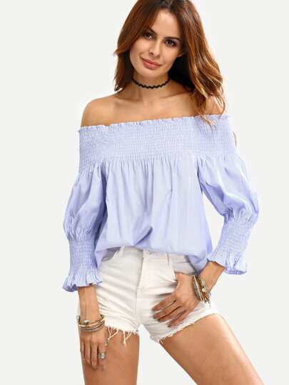 Off The Shoulder Vertical Striped Top