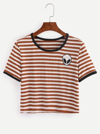 Multicolor Striped Saucerman Embroidered Short Sleeve T-shirt