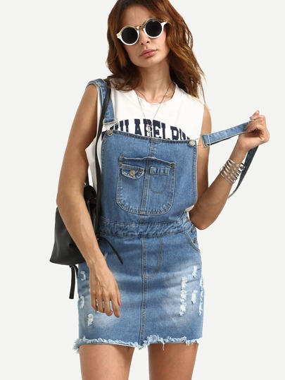 Ripped Denim Pinafore Dress With Pockets