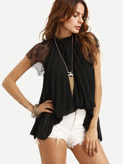 Black High Neck Lace Insert Pleated Chiffon Top
