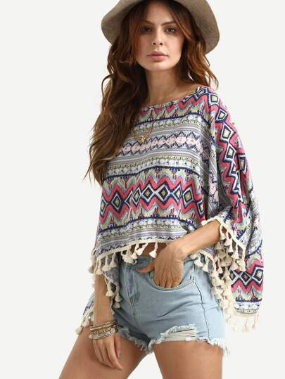 Multicolor Tribal Print Tassel Trimmed Top