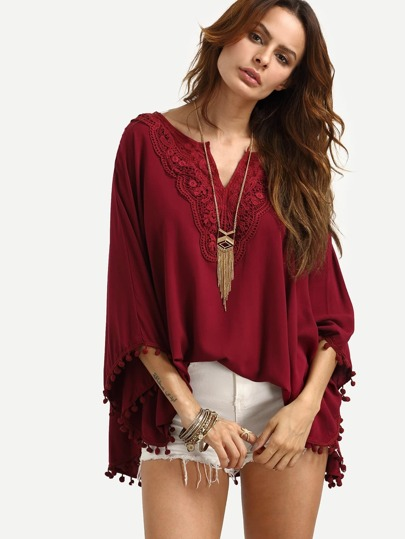 Burgundy V Neck Lace Insert Pom Pom Loose Shirt