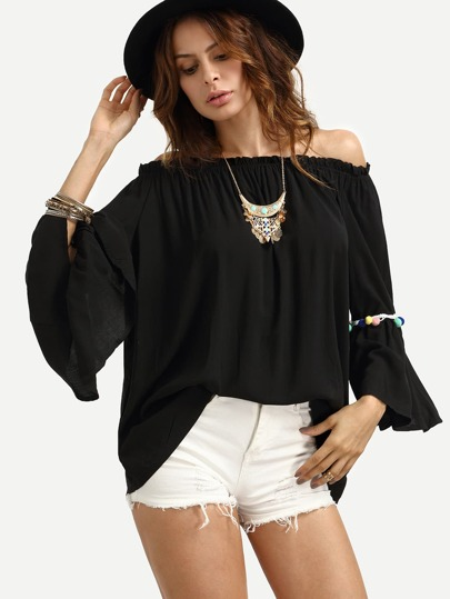Black Off The Shoulder Bell Sleeve Pom Pom Pleated Shirt