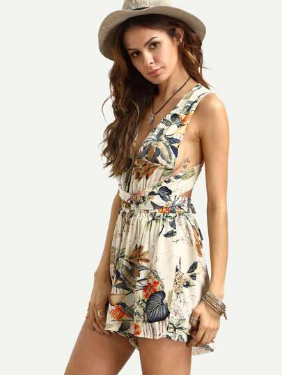 Floral Print Knotted Infinity Romper
