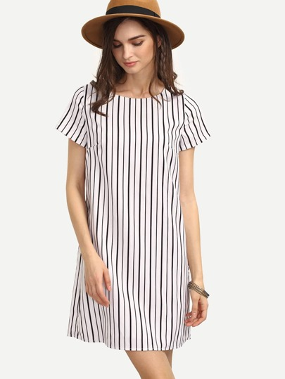 Black White Striped Short Sleeve Shift Dress