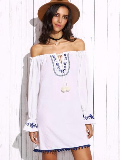 White Off The Shoulder Long Sleeve Embroidered Dress