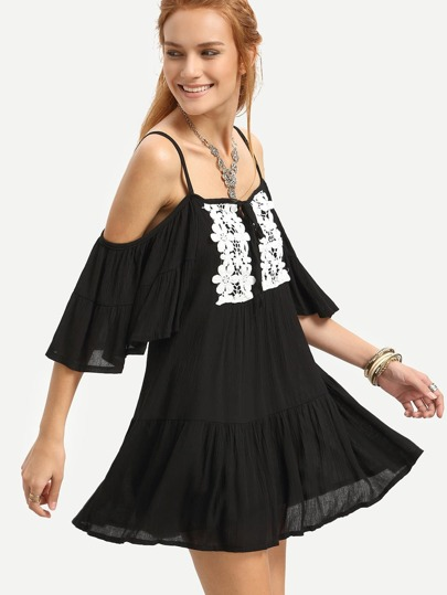 Black Cold Shoulder Contrast Crochet Drop Waist Dress
