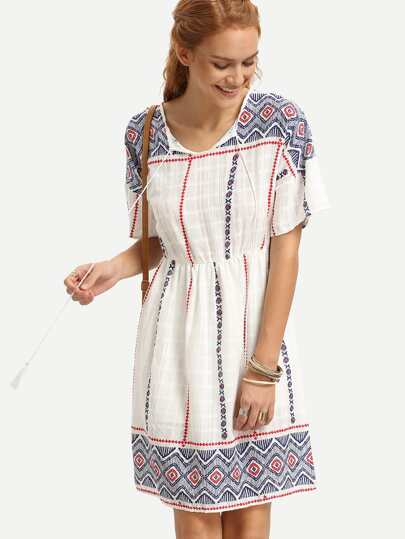 Multicolor Geometric Print Lace Up Dress