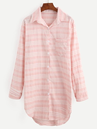 Pink Dip Hem Striped Shirt Dress With Pocket