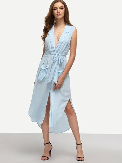 Pale Blue Lapel Self-tie HIgh Low Chiffon Dress With Pockets