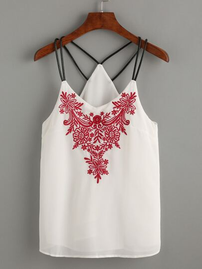 Spaghetti Strap Embroidered Chiffon Cami Top