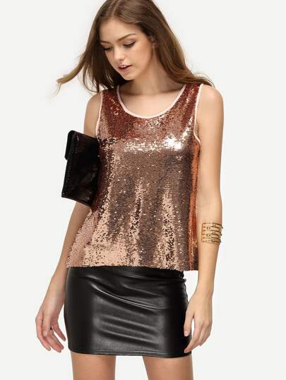 Pink Sequined Tank Top