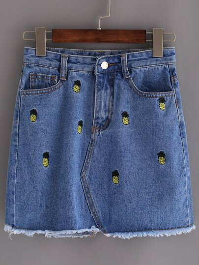 Blue Frayed Denim Embroidered Skirt