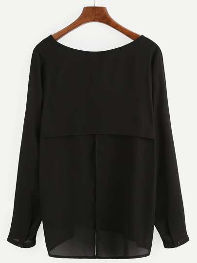 Black Split Back Long Sleeve Blouse