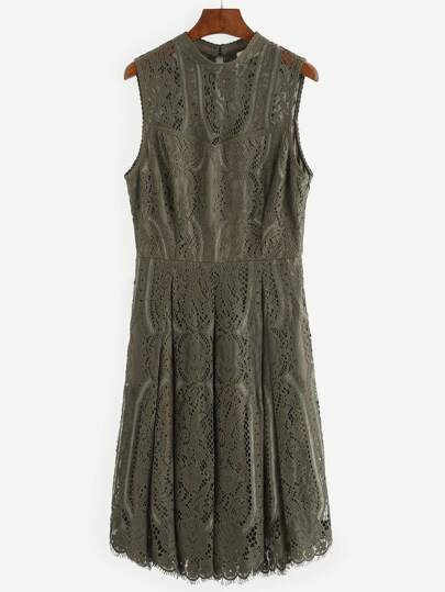 Army Green Sleeveless Lace Dress