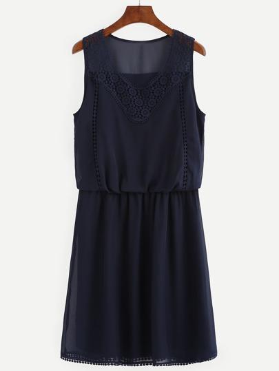 Navy Sleeveless Lace Patchwork Dress