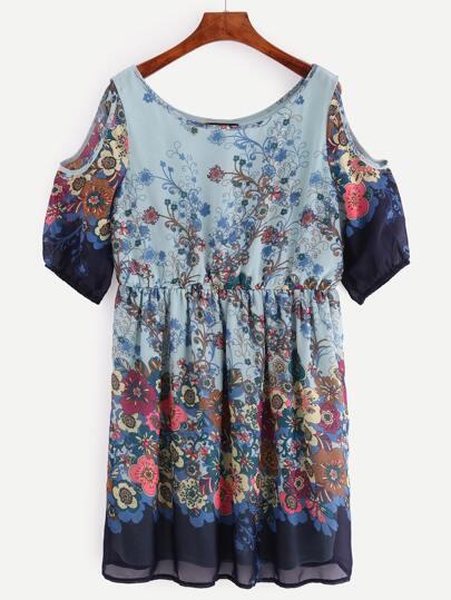 Kleid mit Schulteraussparung und Blumenmuster plissiert