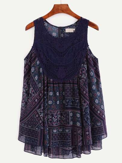 Multicolor Print Sleeveless Lace Patchwork Blouse