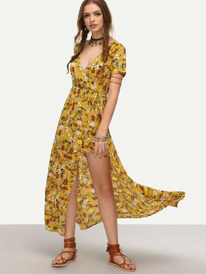 Yellow Wrap Front Floral Print Split Dress