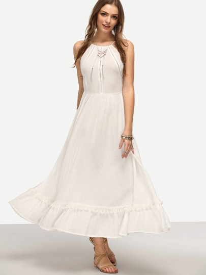 White Spaghetti Strap Ruffle Hem Maxi Dress