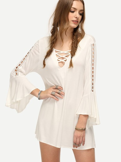 White V-neck Bell Sleeve Shift Dress
