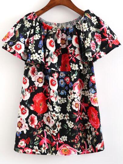 Multicolor Short Sleeve Floral Print Blouse