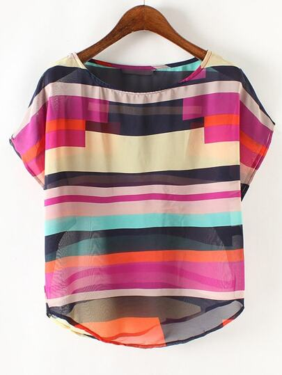 Multicolor Sheer Round Neck Chiffon Blouse