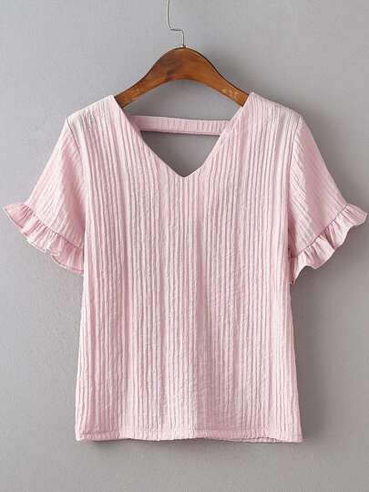Pink Petal Sleeve V-back Blouse