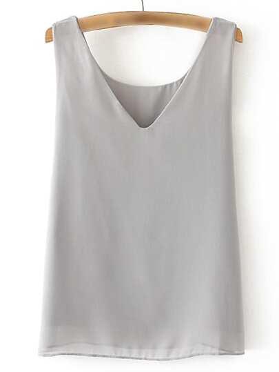 Grey V Neck Sleeveless Chiffon Vest