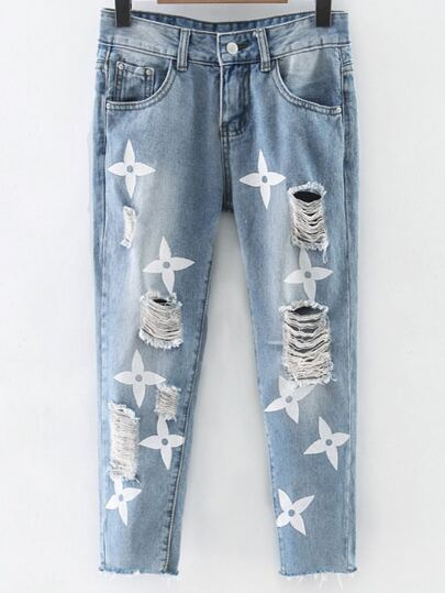 Light Blue Printed Knee Ripped Jeans