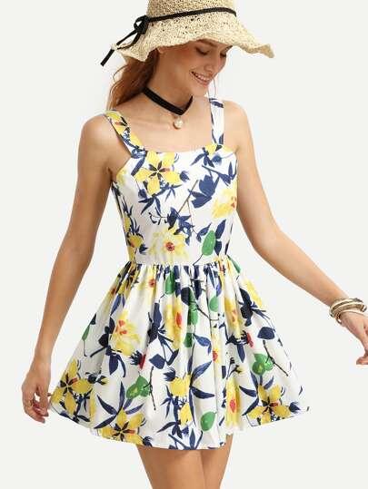 Multicolor Flower Print Pleated Skater Dress