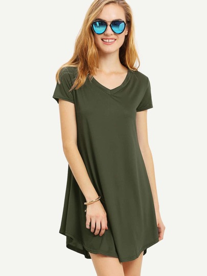 Olive Green V-Neckline Swing Tee Dress