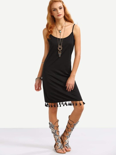 Black Tassel Trimmed Cami Dress