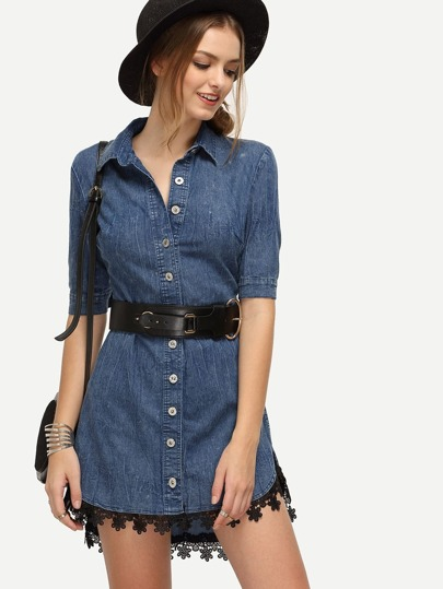 Lace Trimmed Blue Denim Dress