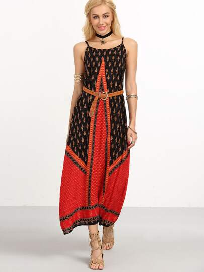 Multicolor Tribal Print Long Cami Dress