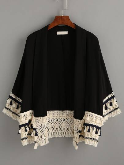 Kimono décontracté avec franges - noir