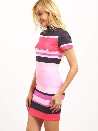 Multicolor Striped Cutout Back Sheath Dress