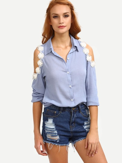 Flower Applique Open Shoulder Blue Blouse
