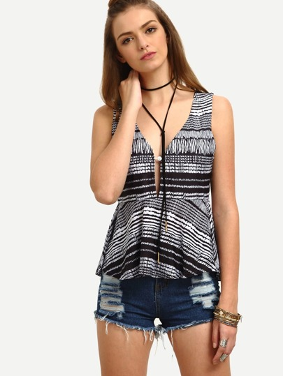 Black White Abstract Print Buttoned V Neck Tank Top